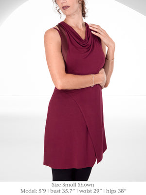 Inventory Sale: EVA - Tunic Dress with Shoulder Cut Out (Black, Burgundy)
