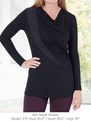 ELGIN – Flattering Long-Sleeve Tunic Top (Navy Blue)