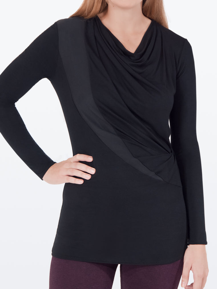 ELGIN – Flattering Long-Sleeve Tunic Top (Black)