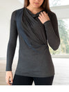 ELGIN – Flattering Long Sleeve Tunic Top (Charcoal)