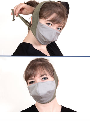 Fashionable High Thread Count Cotton Headband Masks With Built-In Silk Filter (5 colorways)