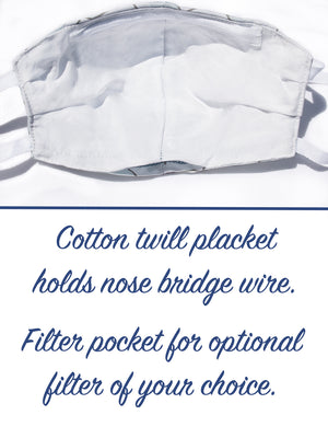 High Thread Count Cotton Mask with Filter Pocket & Nose Bridge Wire (3 colorways)