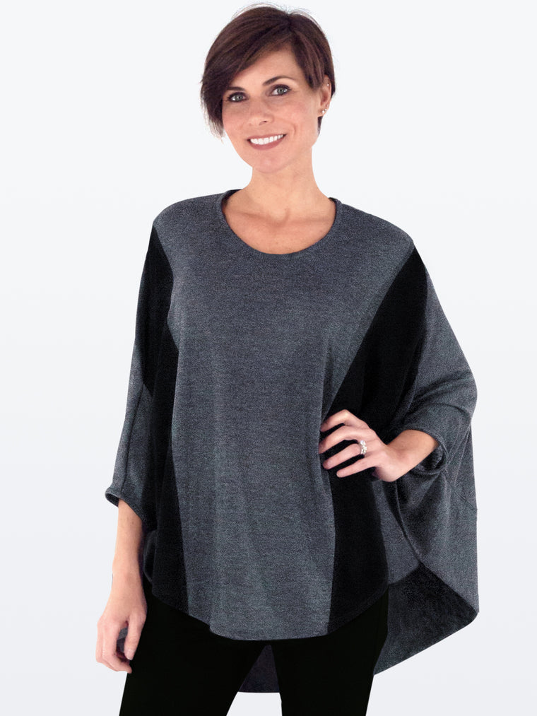 JUSTA - Wrinkle-Resistant Sweater Knit Tunic (Charcoal/Black)