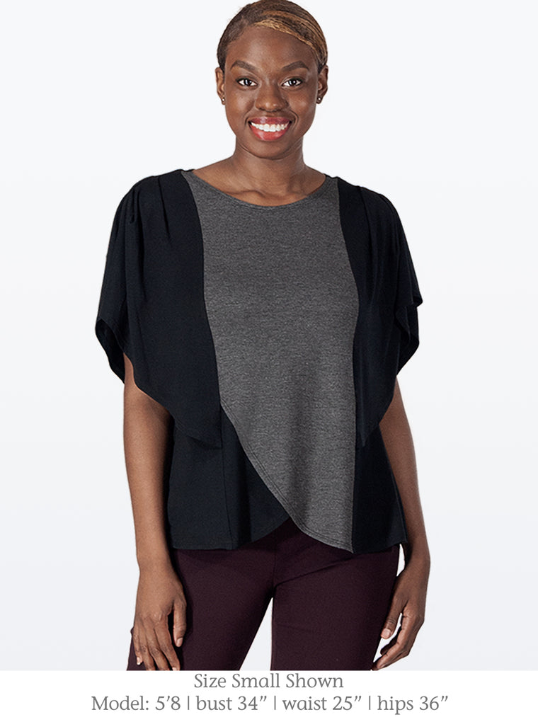 MORGAN – Flattering Top with Butterfly Sleeves (Black/Charcoal)