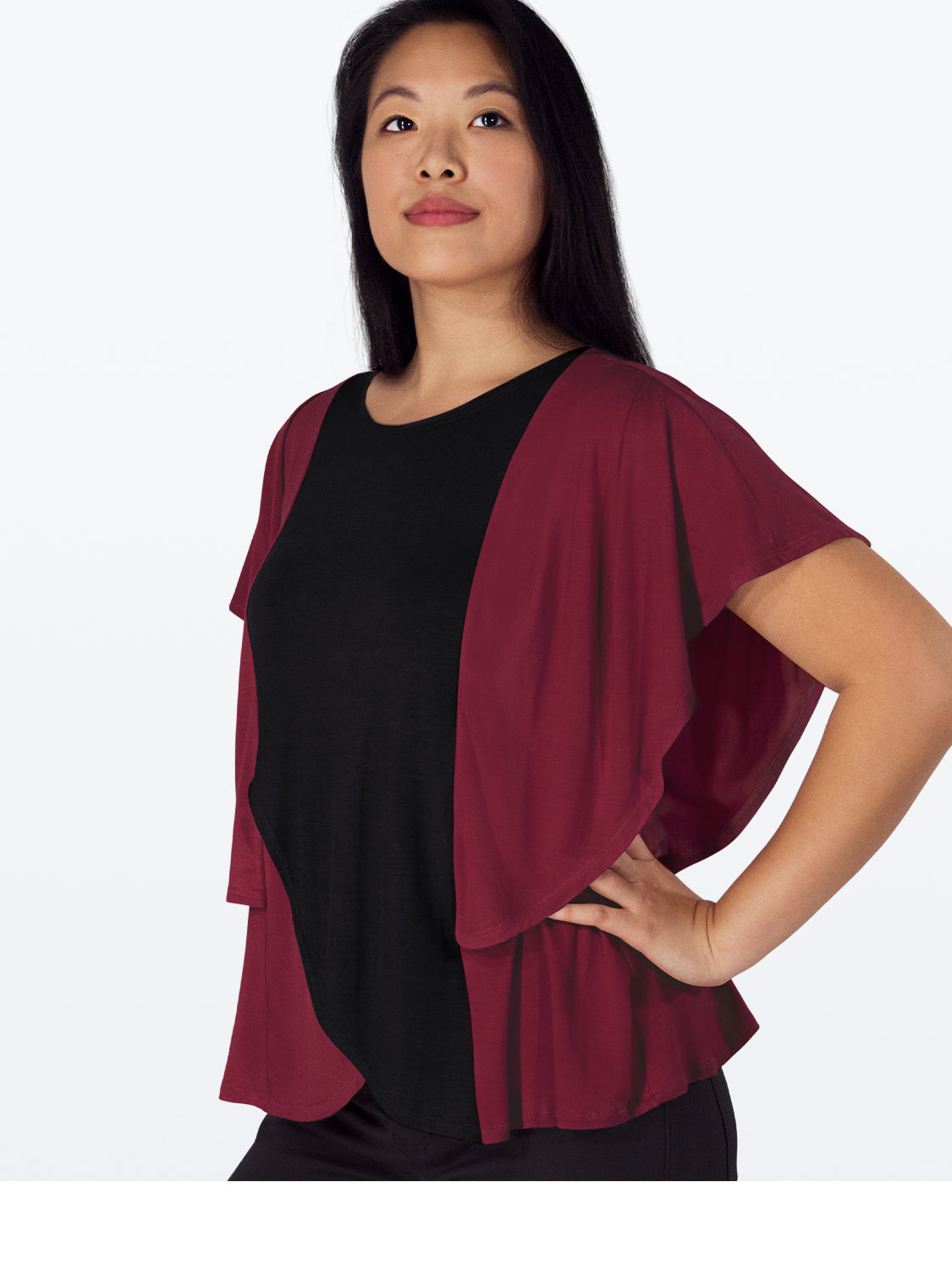 Inventory Sale: MORGAN – Flattering Top with Butterfly Sleeves (Dusty Rose & Burgundy/Black)