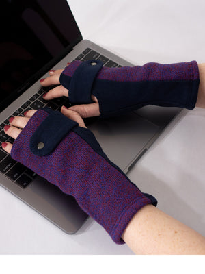 Carey - Stylish Fingerless Gloves  (Plum)