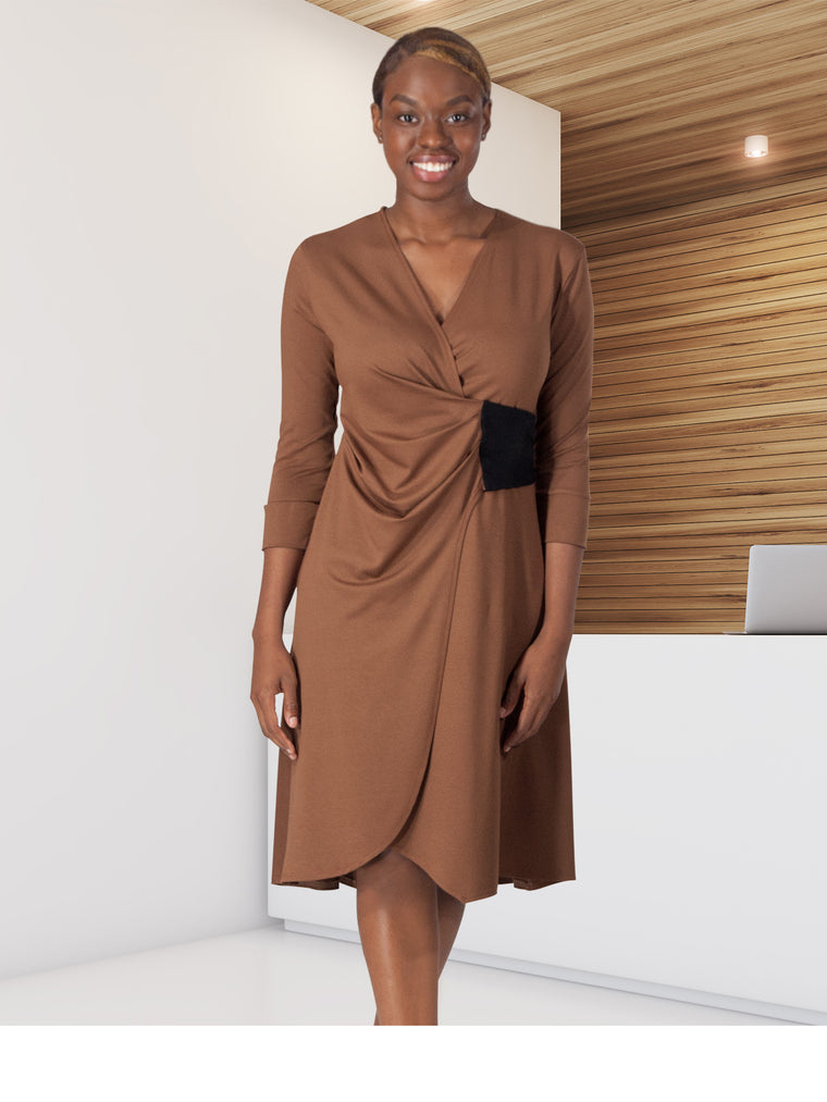 WAVERLY - Elegant Dress for Work (Chestnut)