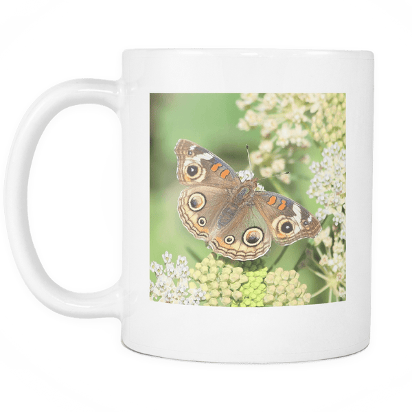Brown Butterfly Mug, 11 oz Ceramic Coffee Cups with Nature Photography