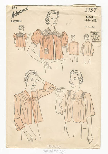 Advance 2157, 1930s Bed Jacket Sewing Pattern