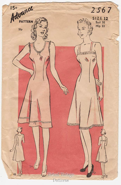 Advance 2567, 1940s Vintage Slip Pattern
