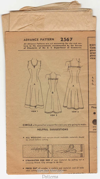 1940s Vintage Slip Pattern, Advance 2567, Full Slip Vintage Lingerie Sewing Pattern, Bust 30