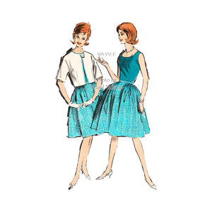 Easy Sewing Pattern Sleeveless Blouse, Full Skirt & Bolero Jacket, Advance 2889