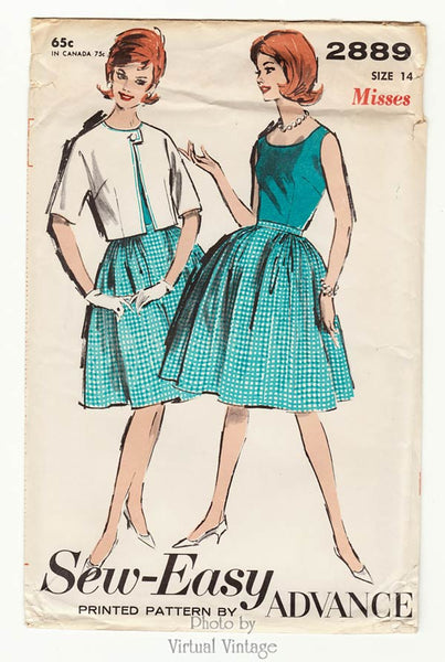 1960s Vintage Sewing Pattern Advance 2889, Sleeveless Blouse, Full Skirt & Bolero Jacket