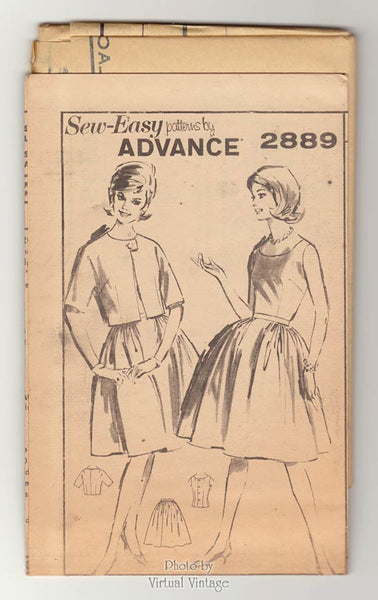 Vintage Sewing Pattern Advance 2889, Sleeveless Blouse, Full Skirt & Bolero Jacket, Bust 34, Uncut