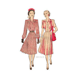 1940s Pleated Dress Pattern, Advance 4592