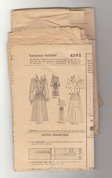 1940s Pleated Dress Pattern, Advance 4592, Short or Long Sleeve Dress Vintage Sewing Pattern