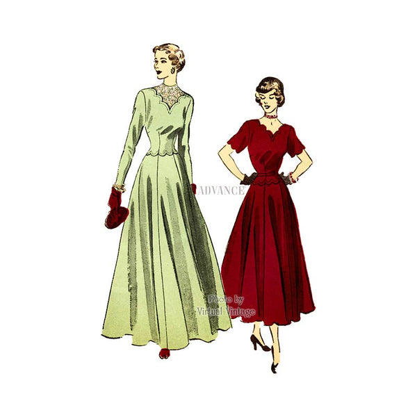 1940s Scalloped Dress Pattern, Advance 5051, Vintage Sewing Pattern, Bust 34, Uncut