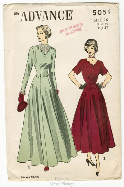 Advance 5051, 1940s Scalloped Dress Pattern, Vintage Sewing Pattern, Bust 34, Uncut