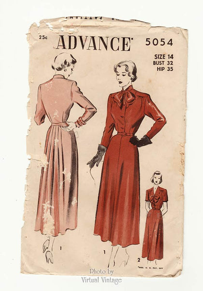 Advance 5054, 1940s dress pattern