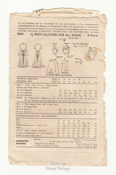 Advance 5054 1940s Bow Dress Pattern