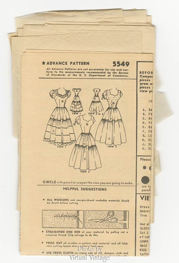 1950s Sweetheart Dress Pattern Advance 5549 Fitted Bodice Tiered Skirt