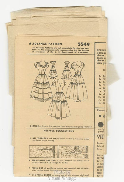 1950s Sweetheart Dress Pattern Advance 5549 Fitted Bodice Tiered Skirt Bust 30