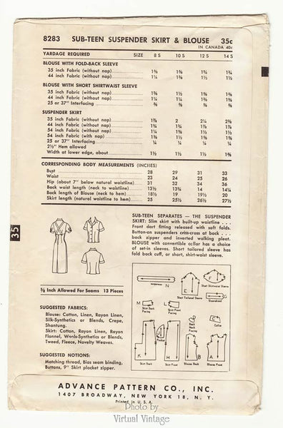 1950s Blouse & Suspender Skirt Pattern Advance 8283 Vintage Sewing Patterns
