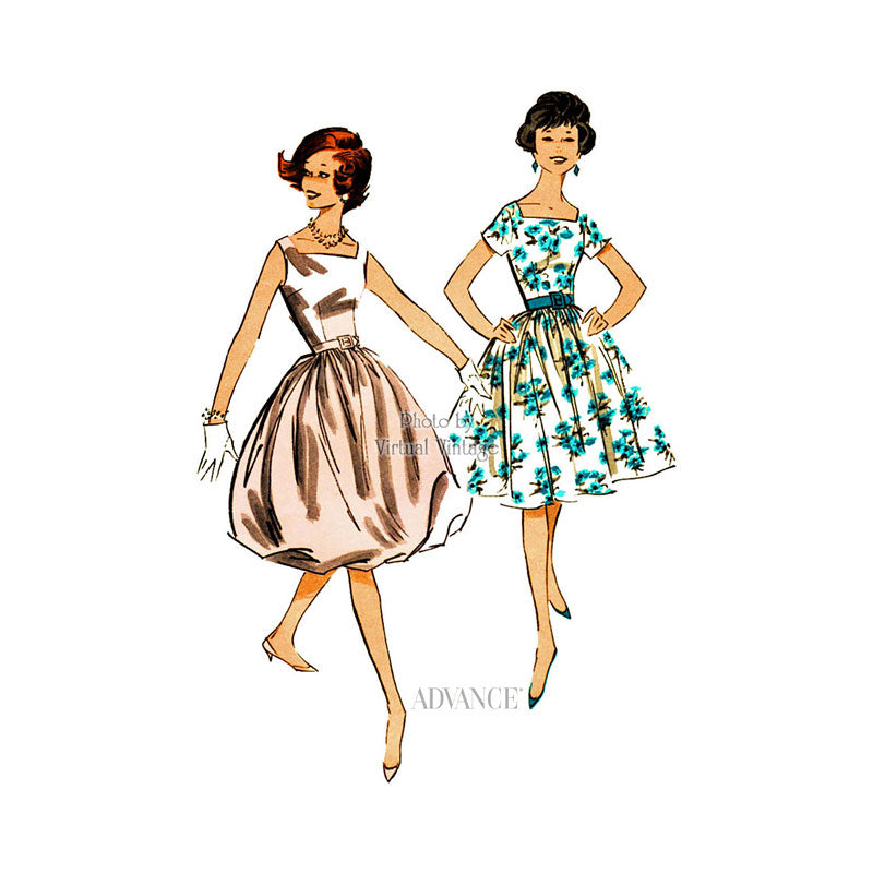 1950s Bubble Skirt Dress Pattern, Advance 9004
