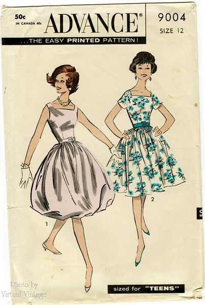 Advance 9004, 1950s Bubble Skirt Dress Pattern