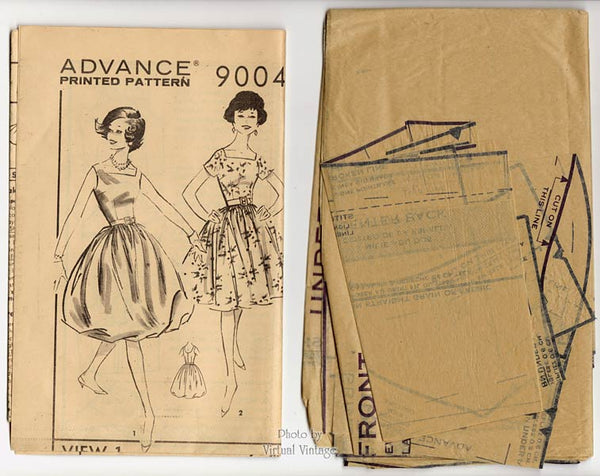 1950s Bubble Skirt Dress Pattern, Advance 9004, Swing or Balloon Skirt Party Dress Sewing Pattern