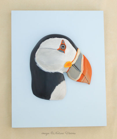 Atlantic Puffin Art, polymer clay bird sculpture wall art