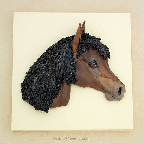 Bas relief horse head wall art sculpture, bay horse lover gifts