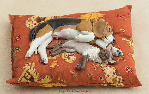 Siamese Cat and Beagle Dog Sculpture