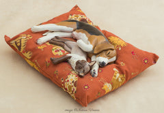 Siamese Cat & Beagle Sculpture, Pet Lover Gift, Polymer Clay Animals, Cat and Dog Art