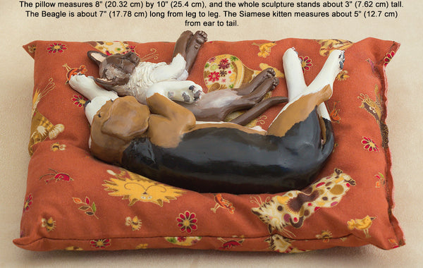 Pet Lover Gifts, Siamese and Beagle Sculpture