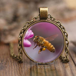 Flying Honey Bee Necklace, nature photo jewelry, bee pendant