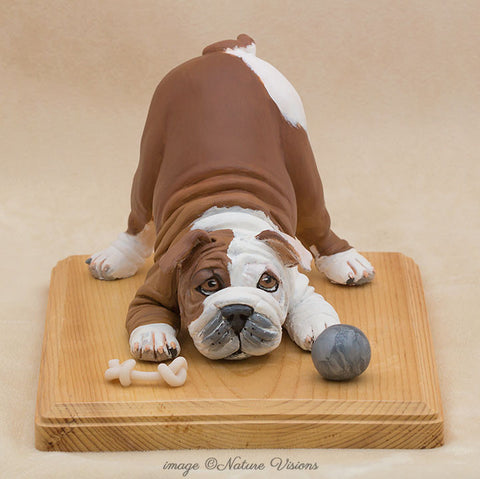 English Bulldog Art, polymer clay dog sculpture