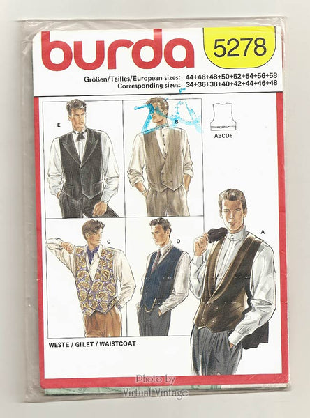 Burda 5278, Mens Dress Vest Pattern