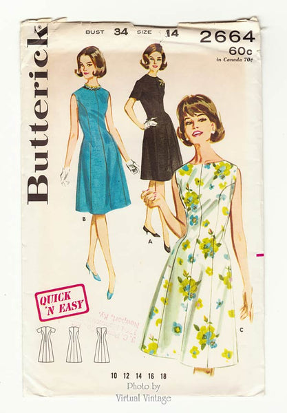 Butterick 2664, 1960s Jewel Neck Dress Pattern