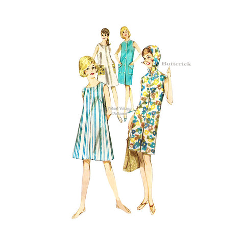 Hooded Beach Dress Pattern, Butterick 2678, Girls A Line Shift Dress
