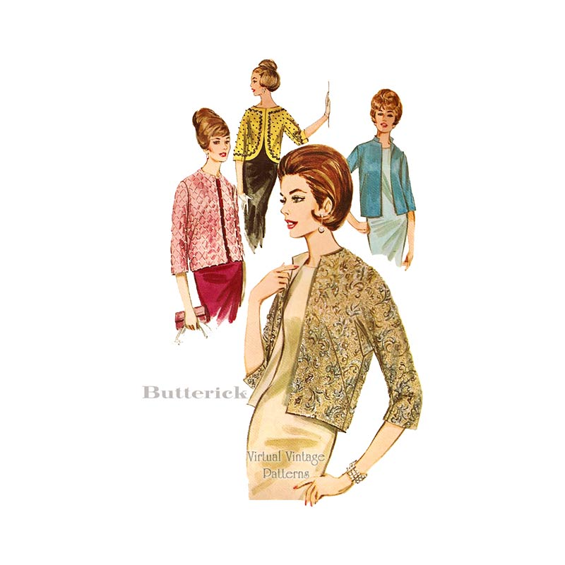 60s Evening Jacket Sewing Pattern, Butterick 2884