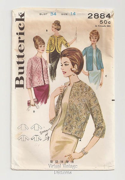 Butterick 2884, 1960s Evening Jacket Sewing Pattern