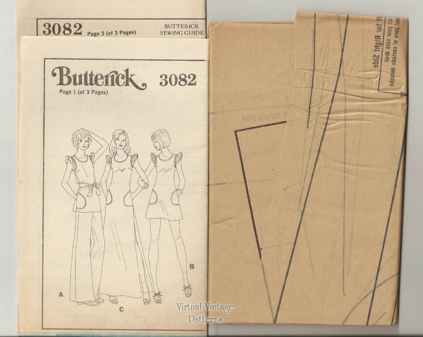 70s Boho Baby Doll Dress Pattern, Butterick 3082, Long or Mini Dress, Tunic & Pants, Bust 36 Uncut