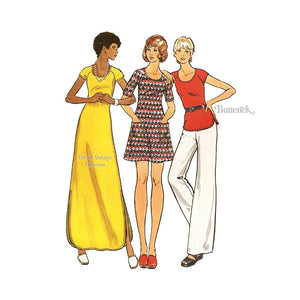 Knit Mini or Maxi Dress Pattern with Top & Pants, Butterick 3089