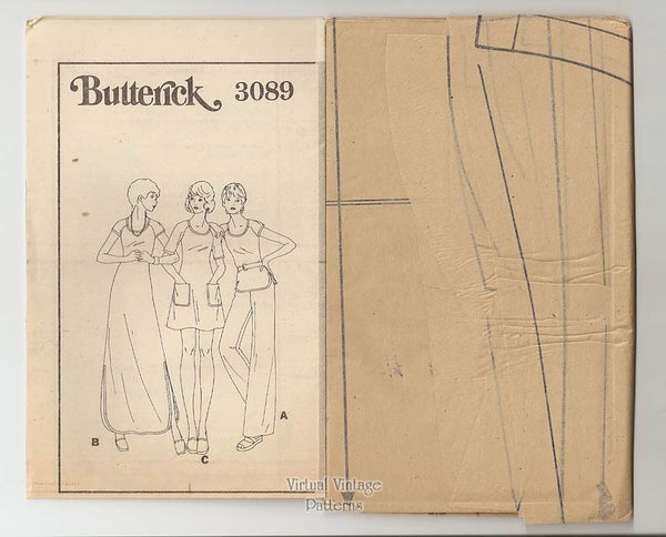 Knit Mini or Maxi Dress Pattern with Top & Pants, Butterick 3089, Bust 36, Uncut