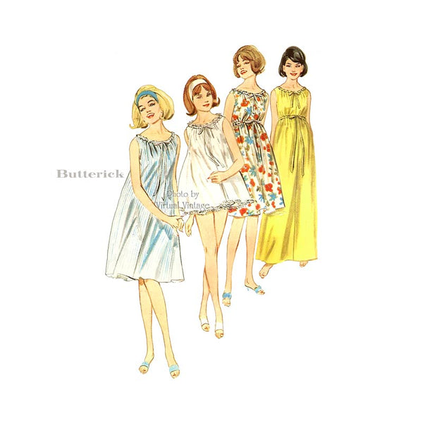 1960s Empire Waist Nightgown Pattern, Butterick 3157