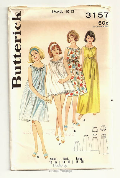 Butterick 3157, 1960s Empire Waist Nightgown Pattern