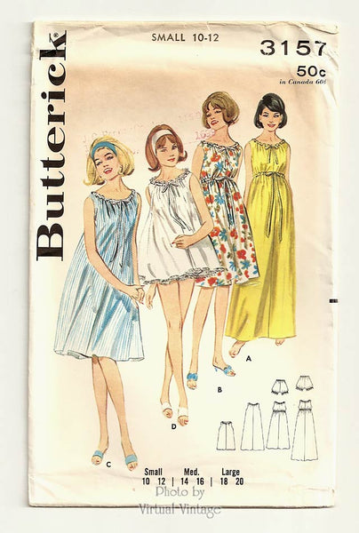 1960s Empire Waist Nightgown Pattern, Butterick 3157, Vintage Sleeveless Nightgown Patterns, Uncut