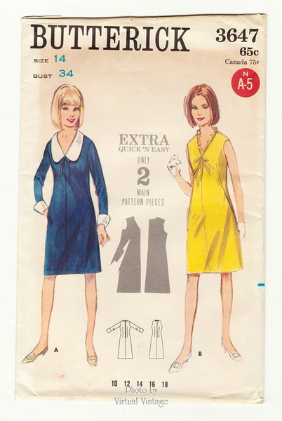 Butterick 3647 60s Easy A Line Dress Pattern