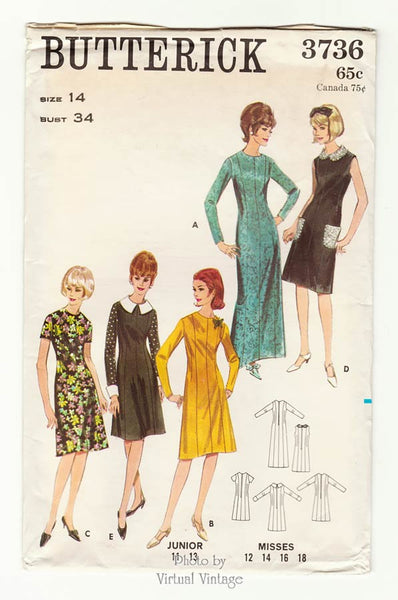 Butterick 3736, 1960s A Line Dress Pattern